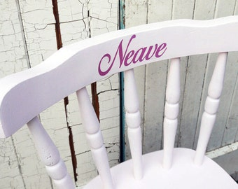Child's personalised vintage wooden chair with name upcycled and made to order by Emily Rose Vintage