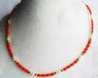 Tiny Red Coral Necklace pearls and gold / Gemstone Choker Minimal Beaded Necklace  Layering Necklace /  Amulet  / Girls Pearl Coral Necklace
