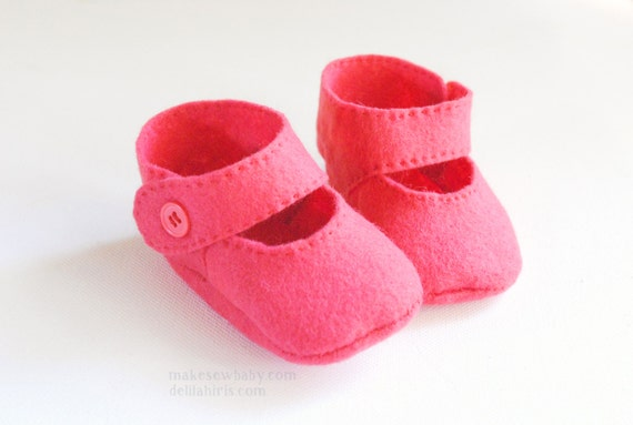 Felt Baby Shoe Pattern Mary Jane Style Bootie Sizes