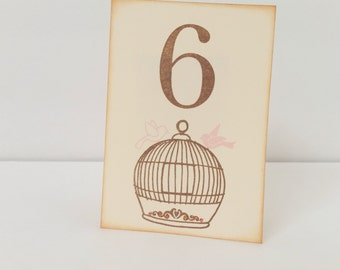 Wedding Table Numbers Love Birds Birdcage Creamy Vanilla Pink Birds Set of 10