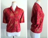 Vintage 1960's Ladies Red Blouse Shirt // Paisley Print Shirt // Floral Print Blouse //  Button Up Blouse