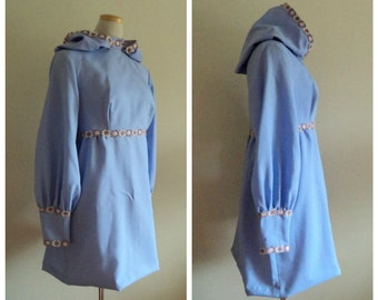 Vintage 1970's Babydoll Dress with Hood // Dramatic Hooded Blue Purple Mini Baby Doll Dress // Floral Trim with  Balloon Sleeves