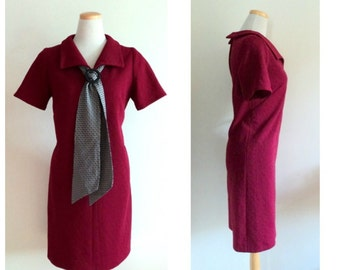 Vintage 1960's Dress //  Dark Red Scooter Short Sleeve Shift Day Dress // V-Neck Dress