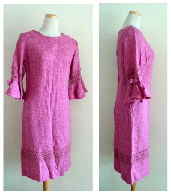 SALE Vintage 1970's Pink Dress // GISELLE // Mid Length Dress // Half Sleeve Dress // Deadstock Dress // Original Tags