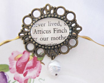 To Kill a Mockingbird Brooch Bridal. Bouquet Pin Atticus Finch Snow White Glass Pearl Bead. Repurposed Text Book Cameo Jewellery Handmade