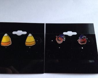 Set of Candy Corn and Pumpkin stud earrings