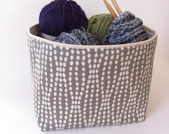 large gray and cream textured // fabric storage basket // bin