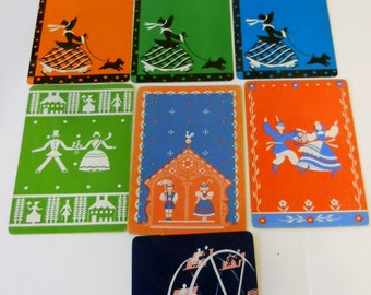 Lot 10 Vintage Linen Playing Swap Cards Folk Art, Dogs, ferris wheel Collage Scrapbook