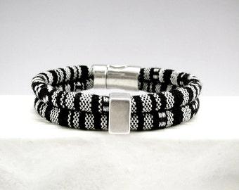 Friendship Bracelet, Black White Bracelet, Cotton Cord Bracelet, Casual Bracelet, Soft Bracelet, Black White Silver Jewelry, Gift for Her