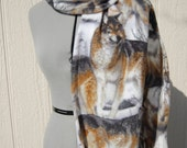 Wolf Wolves Wolfpack Gray Tan Fleece Scarf
