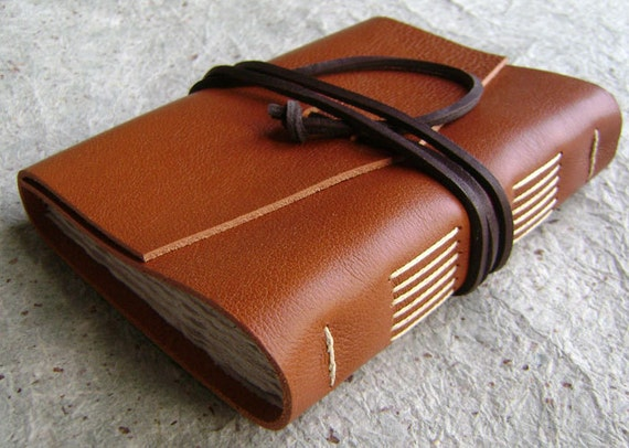 "Leather journal, rustic orange-brown, 4"" x 6"", handmade journal by Dancing Grey Studio (1215)"