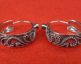 Awesome Balinese Sterling Silver Hoop Earrings / silver 925 / Granulation art Bali handmade Jewelry / (#309K)