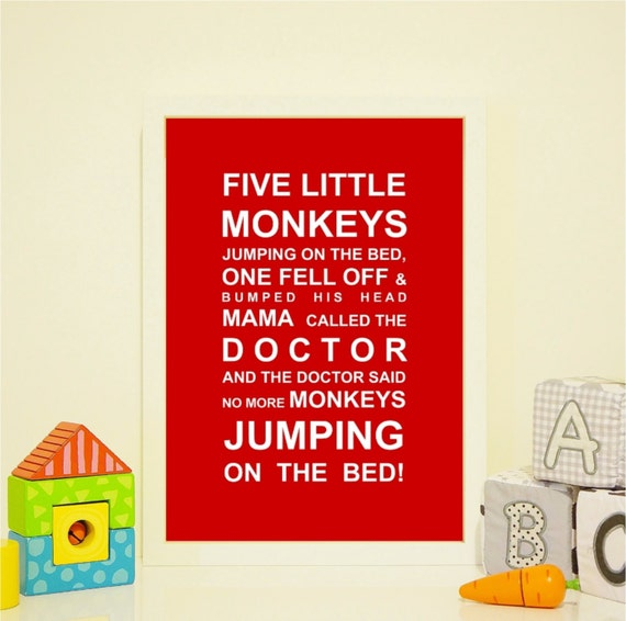 Five Little Monkey's- Nursery Print