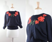 Vintage I. Magnin Rose Appliqué Black Dolman Sleeve Sweater