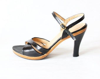 Vintage Black Leather & Wood Strappy High Heel Sandals, size