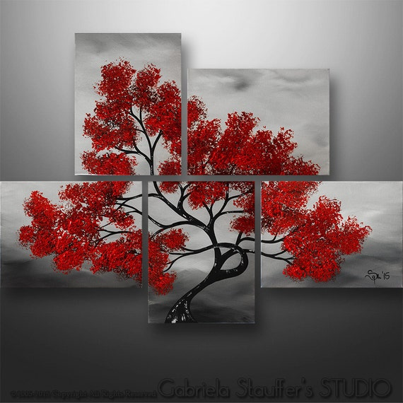 peinture abstrait paysage moderne arbre asiatique acrylique. Black Bedroom Furniture Sets. Home Design Ideas