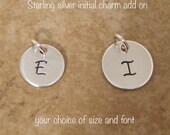 Sterling Silver initial charm  - Tiny Initial add on charm -  Dainty initial charm - Photo NOT actual size - Please READ item/font details