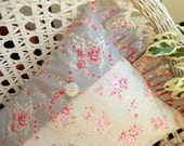 Shabby Chic Pillow with garlands roses vintage buttons ruffles and romance