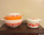 Reserved  REDUCED and FREE SHIPPING: Pyrex friendship cinderella set plus casserole with rare lid