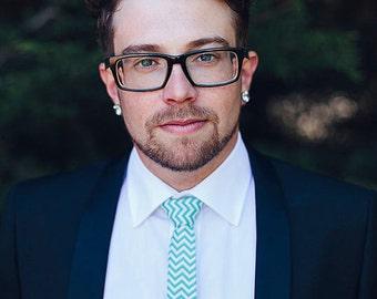 Aqua Chevron Necktie - Skinny Tie or Standard Width- Men's, Teen, Youth          2 weeks before shipping