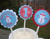 Aqua/Red Snowbaby Winter ONEderland Cupcake Toppers - Set of 12 - original style