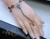 Wire Wrapped Copper Turquoise Slave Bracelet