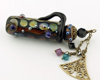 Lampwork Glass Vessel - Aromatherapy Amphora Jar Black Cork Lid Swarovski Crystals Perfume Jar