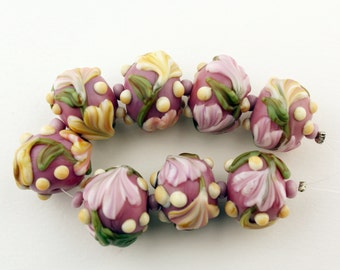 Lampwork Glass Beads Set Pink  Flowers Green Ivory 'Cottage Garden' SRA