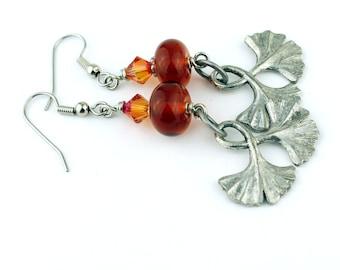 Lampwork Glass Bead Earrings - Iridescent Topaz Silver - Beaded Jewelry 'Ginkgo'