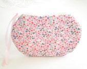 Floral Cotton Zipper Pouch, Makeup Pouch, Pink Ziipper Bag, Small Purse Wild Flowers