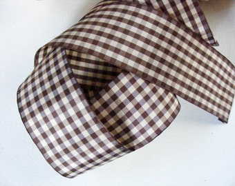 Vintage English Rayon Check Ribbon 2 1/16 Inch Gorgeous Brown and Cream