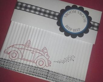 Car Birthday Invitations, Car Baby Shower Invitations, Vehicle invitations, Transportation Invitations - Set of 8
