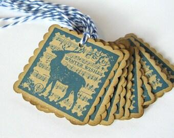 Reindeer Gift Tags, Christmas Gift Tags, Gift Tags, Blue Christmas, Tags, Holiday Packaging, Reindeer, Vintage Christmas, Hanukkah Gift Tags