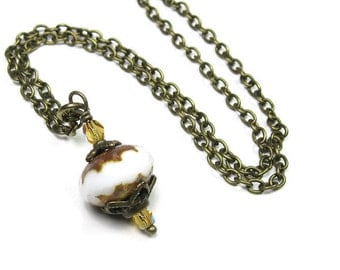 Vintage Style Necklace, Two-tone White and Honey Gold Picasso Czech Glass Antiqued Brass Necklace for Women, Affordable Birthday Gift Ideas