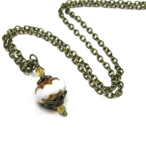 Vintage Style Necklace White Necklace Honey Yellow Gold Picasso Czech Glass Necklace Two-tone Beads Antique Brass Necklace Her Accessories
