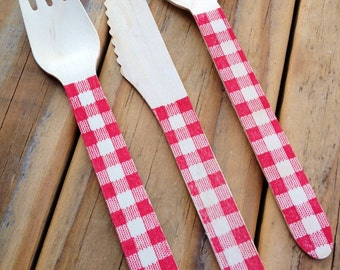 Gingham Stamped Wood Cutlery Forks Knives and Spoons Disposable 6.5 Inch
