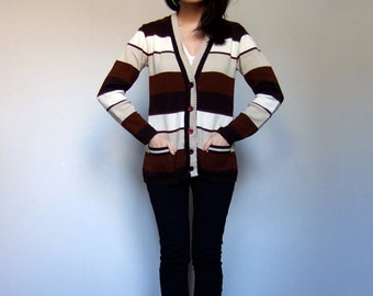 70s Brown White Cardigan Sweater Striped V Neck Button Up Casual Top - Small Medium S M