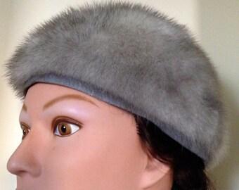 Stunning Vintage 1940s GREY Mink CLOCHE HAT by Wolf Dessauer