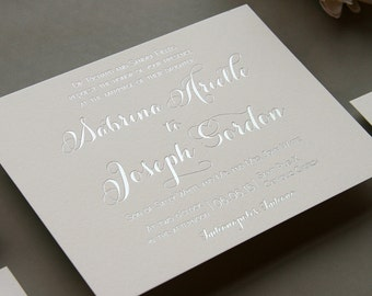 Letterpress Wedding Invitation Set - Silver Foil