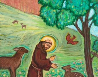 Saint Francis Preaching to the Birds - Catholic Gift - Confirmation - Fine Art Print - Icon- Catholic Art