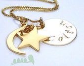 Gold Filled Necklace - Hand Stamped Gold Necklace - Love you to the moon and back - Mother Necklace - Grandma Necklace