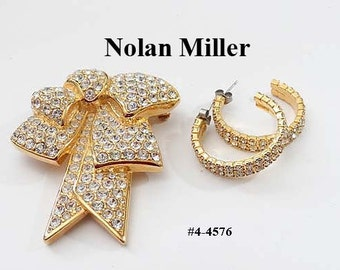 FREE SHIP Nolan Miller Bow Brooch and Earrings Set (4-4576)