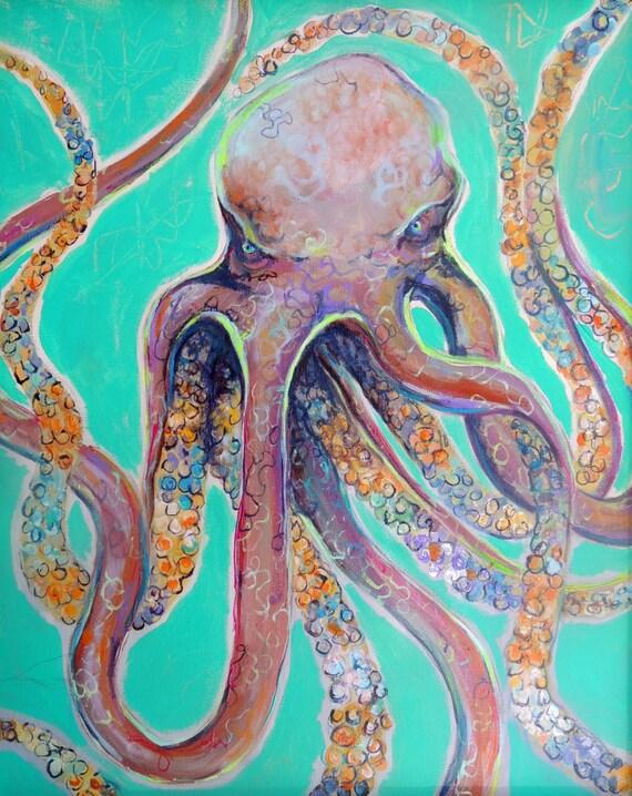 octopus print bathroom decor coastal decor by reddawndesigns