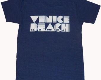 Venice Beach California Pac Man Original Font T-shirt Tri-blend American Apparel S