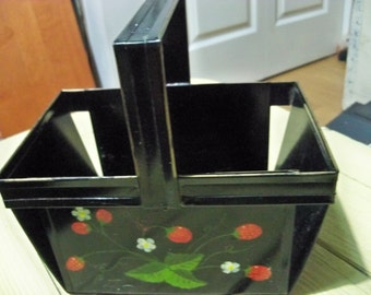 hand painted strawberry basket tin