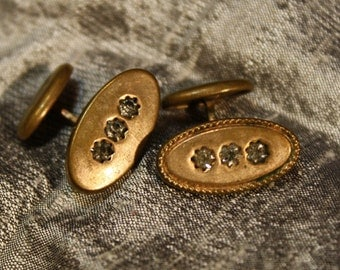 Vintage 1920's Oval with Three Rhinestone Curved Shank Cuff Link Mixed Set
