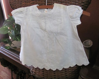 Antique White Ivory Embroidered Cotton Baby Gown Dress