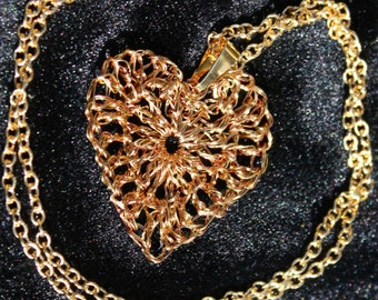 Heart on a String--Wire Crochet Necklace