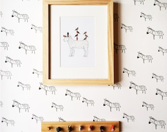 Removable Wallpaper // Zebra Print // Assorted lengths // Adheres to walls and shelf surfaces