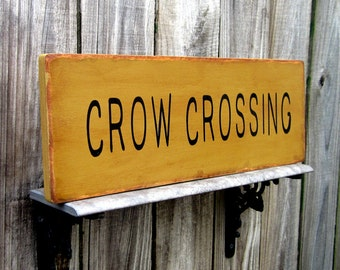 Crow Crossing, Wood Sign, Painted Wood Sign, Rustic Sign, Crow, Primitive, Sanded, Distressed, Stained, Dark Khaki, Black Lettering